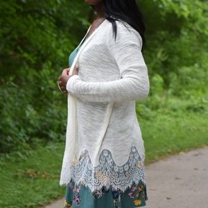 Charming Charlie Sweaters - Ivory Knit and Lace Cardigan Sweater LAST ONE!